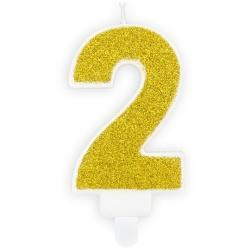 Číslová sviečka 2 zlatá trblietavá, 7cm
