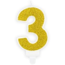 Číslová sviečka 3 zlatá trblietavá, 7cm