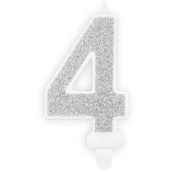 Číslová sviečka 4 strieborná trblietavá, 7cm