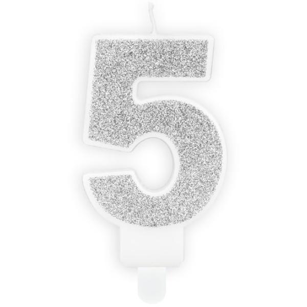 Číslová sviečka 5 strieborná trblietavá, 7cm