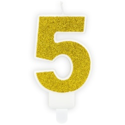 Číslová sviečka 5 zlatá trblietavá, 7cm