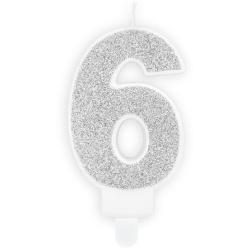 Číslová sviečka 6 strieborná trblietavá, 7cm