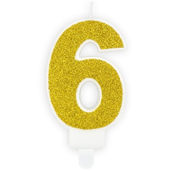 Číslová sviečka 6 zlatá trblietavá, 7cm