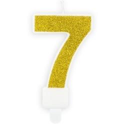 Číslová sviečka 7 zlatá trblietavá, 7cm