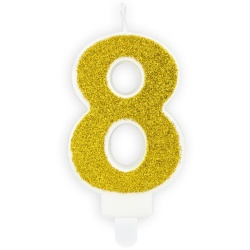 Číslová sviečka 8 zlatá trblietavá, 7cm