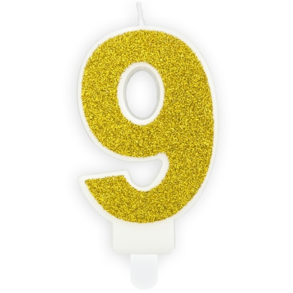 Číslová sviečka 9 zlatá trblietavá, 7cm