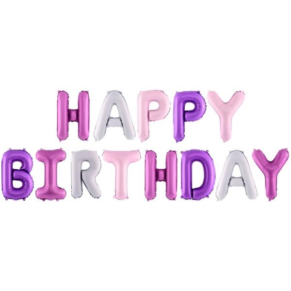 Fóliové balóny nápis Happy Birthday, ružový, 340x35cm