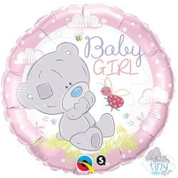 Fóliový balón Macko Baby Girl ružový, 46cm