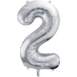 Fóliový balón číslo 2, strieborný, 86cm