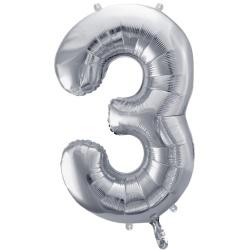Fóliový balón číslo 3, strieborný, 86cm