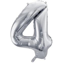 Fóliový balón číslo 4, strieborný, 86cm
