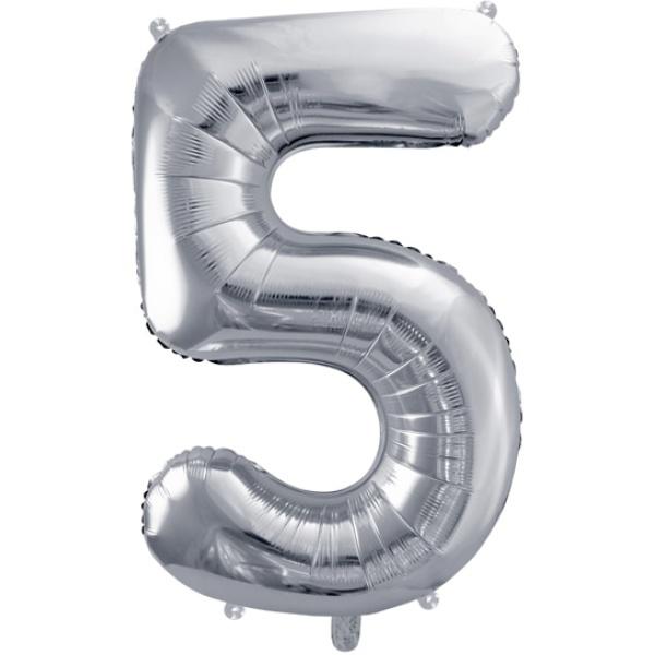 Fóliový balón číslo 5, strieborný, 86cm