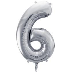 Fóliový balón číslo 6, strieborný, 86cm