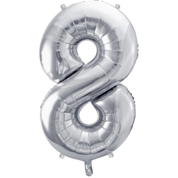 Fóliový balón číslo 8, strieborný, 86cm