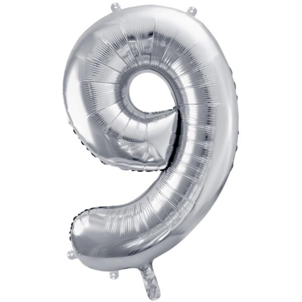 Fóliový balón číslo 9, strieborný, 86cm