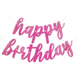 Girlanda nápis Happy Birthday ružová s trblietkami, 83cm