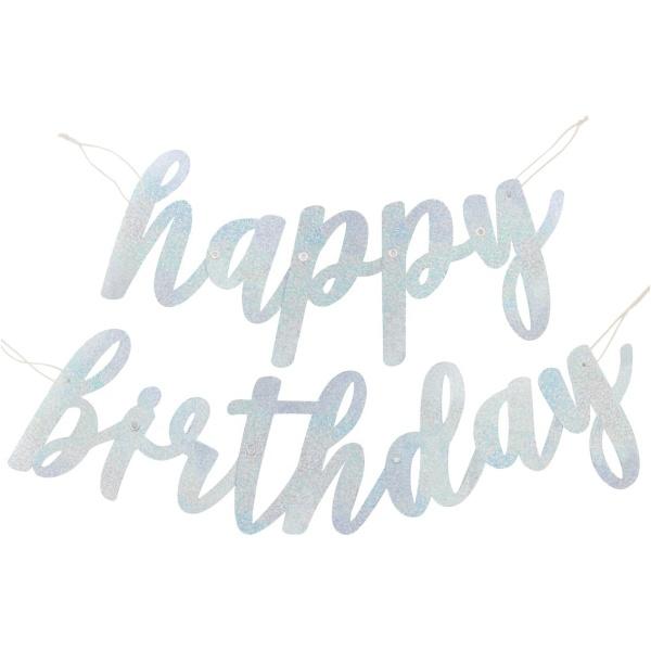 Girlanda nápis Happy Birthday strieborná s trblietkami, 83cm