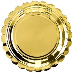 Papierové taniera zlaté lesklé, 18cm, 6ks
