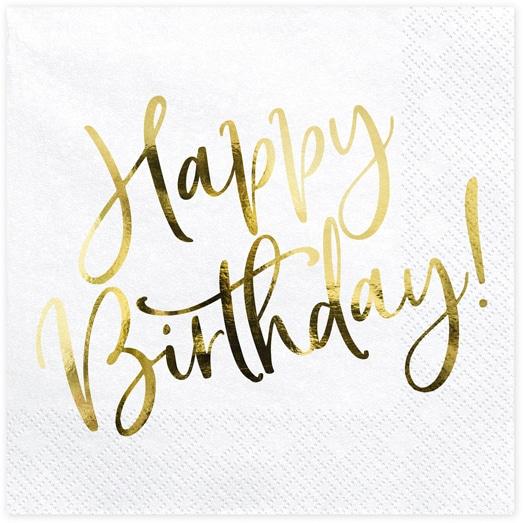 Servítky Happy Birthday, zlatý nápis, 33x33cm, 20ks