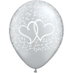Balón dve srdcia strieborný metalický, 30cm, 1ks