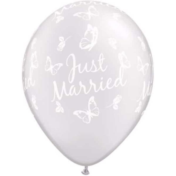 Balón Just Married perleťový metalický, 28cm, 1ks