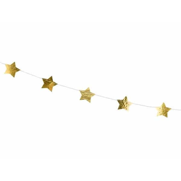 Girlanda zlaté lesklé hviezdičky, 360cm