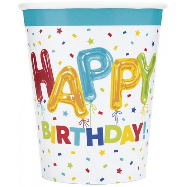 Papierové poháre Happy Birthday farebné, 8ks