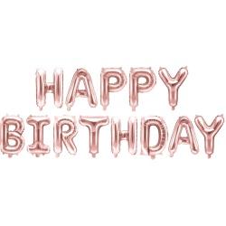 Fóliové balóny nápis Happy Birthday, ružovo zlatý, 340x35cm
