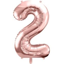 Fóliový balón číslo 2, ružovo zlaty, 86cm