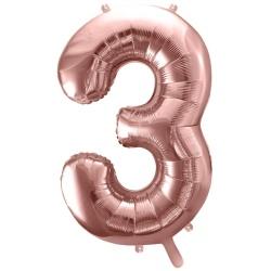Fóliový balón číslo 3, ružovo zlaty, 86cm