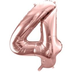Fóliový balón číslo 4, ružovo zlaty, 86cm