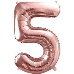 Fóliový balón číslo 5, ružovo zlaty, 86cm