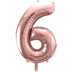 Fóliový balón číslo 6, ružovo zlaty, 86cm
