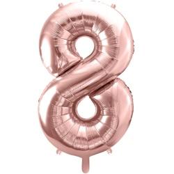 Fóliový balón číslo 8, ružovo zlaty, 86cm