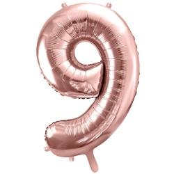 Fóliový balón číslo 9, ružovo zlaty, 86cm
