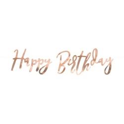 Girlanda nápis Happy Birthday ružovo zlatá, 62cm