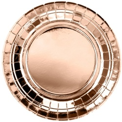 Papierové taniere ružovo zlaté lesklé, 18cm, 6ks