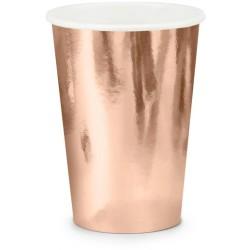 Papierový pohár ružovo zlatý, 220ml, 6ks