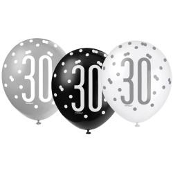 Balóny 30. narodeniny, biely, šedý, čierny, 30cm, 6ks