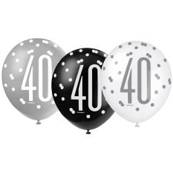 Balóny 40. narodeniny, biely, šedý, čierny, 30cm, 6ks