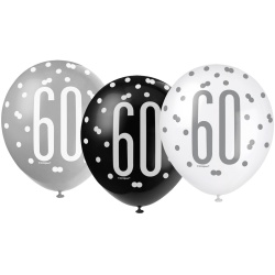 Balóny 60. narodeniny, biely, šedý, čierny, 30cm, 6ks