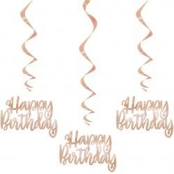 Špirálová dekorácia s nápisom Happy Birthday ružovo zlatá, 81cm, 3ks