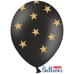 Balón čierny so zlatými Hviezdami, 30cm, 1ks