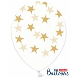 Balón Hviezdy zlaté, priehľadný, 30cm, 1ks