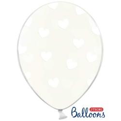Balón Srdiečka biele, priehľadný, 30cm, 1ks