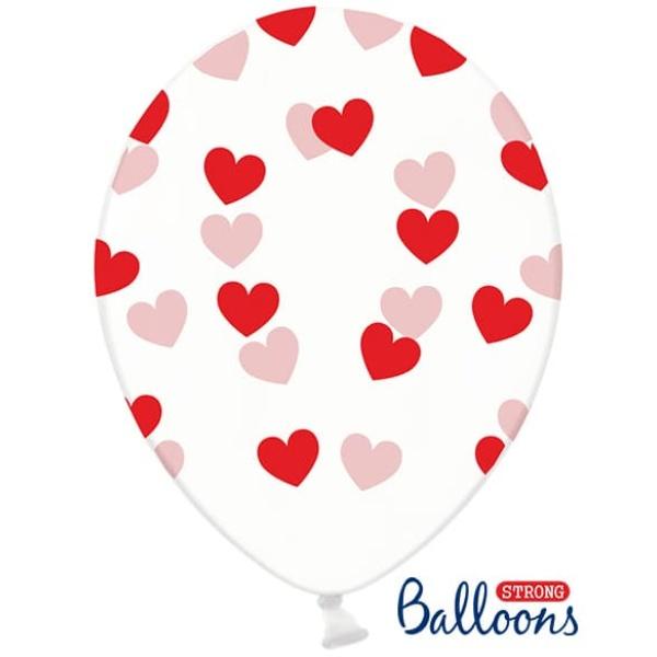 Balón Srdiečka červený, priehľadný, 30cm, 1ks
