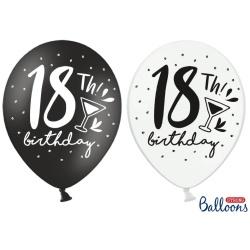 Balóny 18. narodeniny biele a čierne, 30cm, 1ks