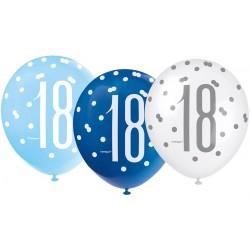 Balóny 18. narodeniny, biely, bledomodrý, modrý, 30cm, 6ks