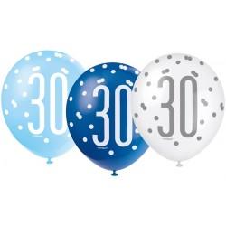 Balóny 30. narodeniny, biely, bledomodrý, modrý, 30cm, 6ks
