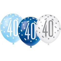 Balóny 40. narodeniny, biely, bledomodrý, modrý, 30cm, 6ks